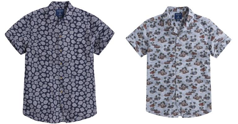 Летние мужские рубашки 2018 Springfield - серые с коротким рукавом и принтом
