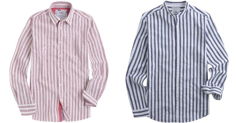 Летние мужские рубашки 2018 Springfield - розовая и синяя в полоску с длинным рукавом