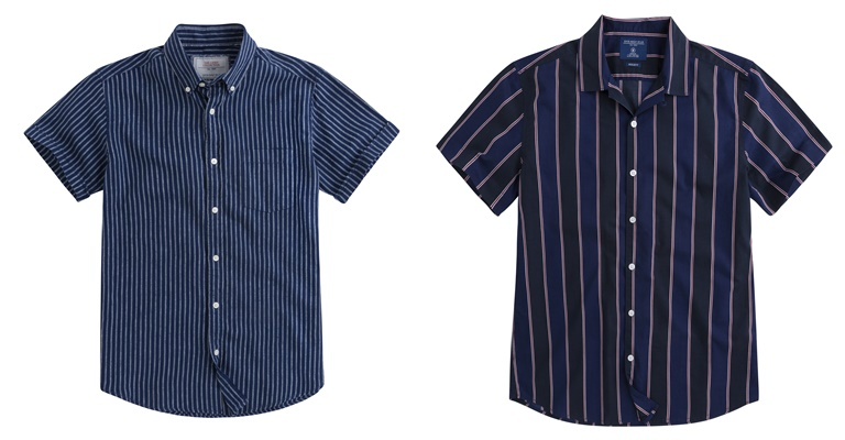 Летние мужские рубашки 2018 Springfield - тёмно-синяя в полоску с коротким рукавом