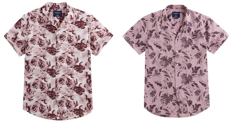 Летние мужские рубашки 2018 Springfield - розовые с принтом и коротким рукавом