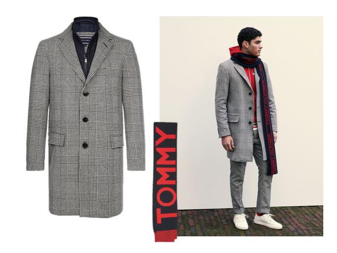 Верхняя одежда Tommy Hilfiger осень-зима 2018-2019 - мужское серое пальто в клетку