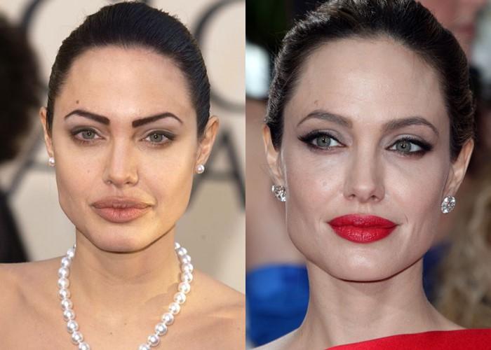 10 звёзд, демонстрирующих, как брови меняют лицо - Анджелина Джоли