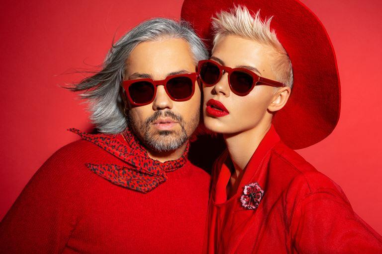 Коллекция очков ALEXANDR ROGOV х HarryCooper - солнцезащитные в красной оправе мужские и женские