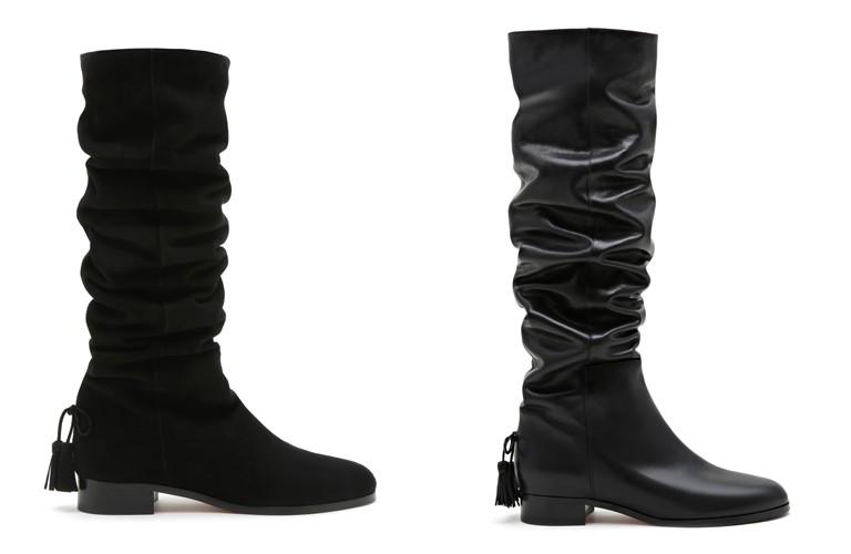 Коллекция обуви Aquazzura и Клаудии Шиффер - черные сапоги