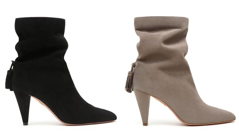 Коллекция обуви Aquazzura и Клаудии Шиффер - замшевые ботильоны