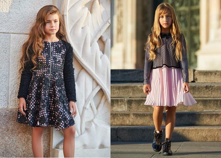 «Магия света» - детская коллекция для девочек Choupette осень-зима 2018-2019 - черно-розовые платья