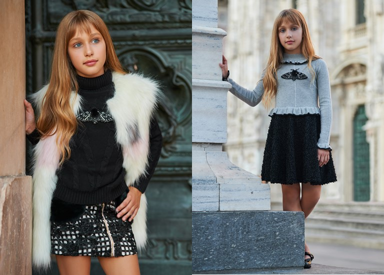 «Магия света» - детская коллекция для девочек Choupette осень-зима 2018-2019 - жилет и свитер с юбкой