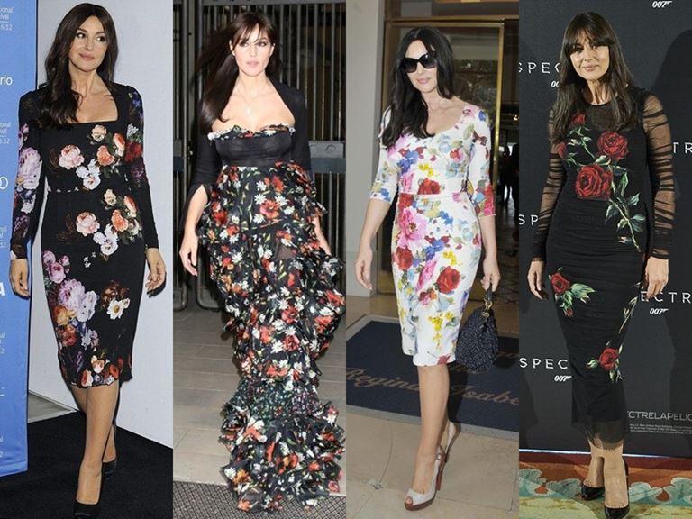 Итальянский стиль Моники Беллуччи - Платья с цветочным принтом