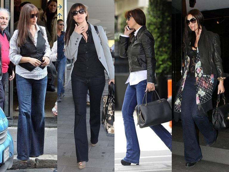 Итальянский стиль Моники Беллуччи: джинсы-клеш