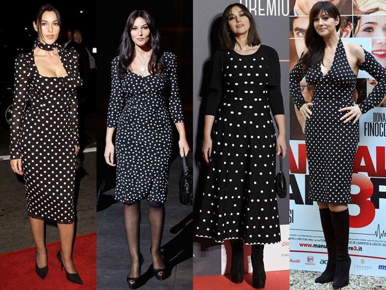 Итальянский стиль Моники Беллуччи: платья в горошек