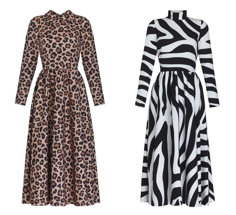 Коллекция Yulia Prokhorova Beloe Zoloto осень-зима 2018-2019 - платье с принтом леопардом и зеброй