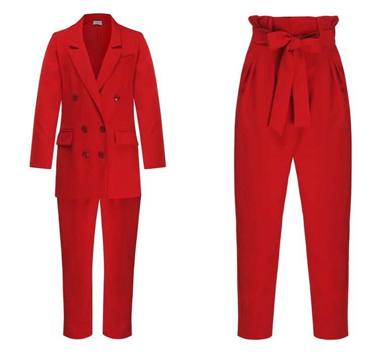 Коллекция Yulia Prokhorova Beloe Zoloto осень-зима 2018-2019 - красный брючный костюм