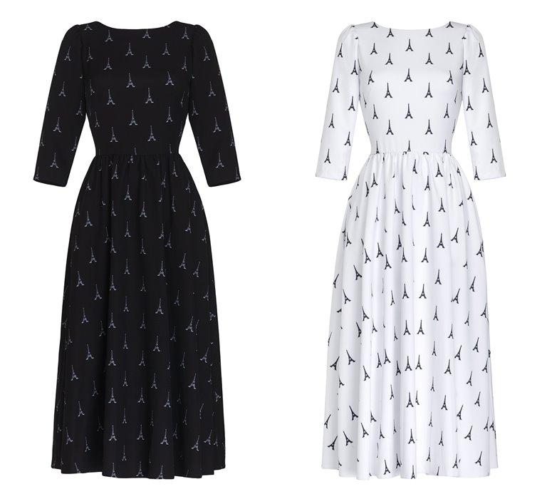 Коллекция Yulia Prokhorova Beloe Zoloto осень-зима 2018-2019 - черное и белое платье с Эйфелевой башней