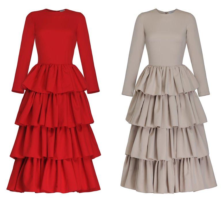 Коллекция Yulia Prokhorova Beloe Zoloto осень-зима 2018-2019 - многоярусные платья