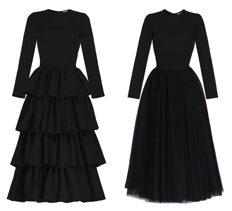 Коллекция Yulia Prokhorova Beloe Zoloto осень-зима 2018-2019 - черные платья с длинным рукавом
