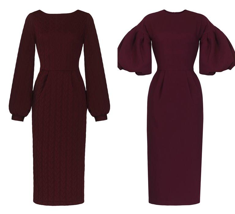 Коллекция Yulia Prokhorova Beloe Zoloto осень-зима 2018-2019 - бордовые платья