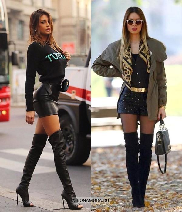 Как можно и нельзя носить ботфорты - Облегающие кожаные мини юбки и шорты