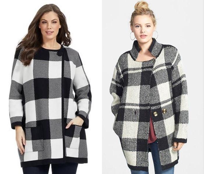 Пальто для толстушек скрывающие полноту и делающие стройнее - Чёрно-белое пальто в контрастную клетку