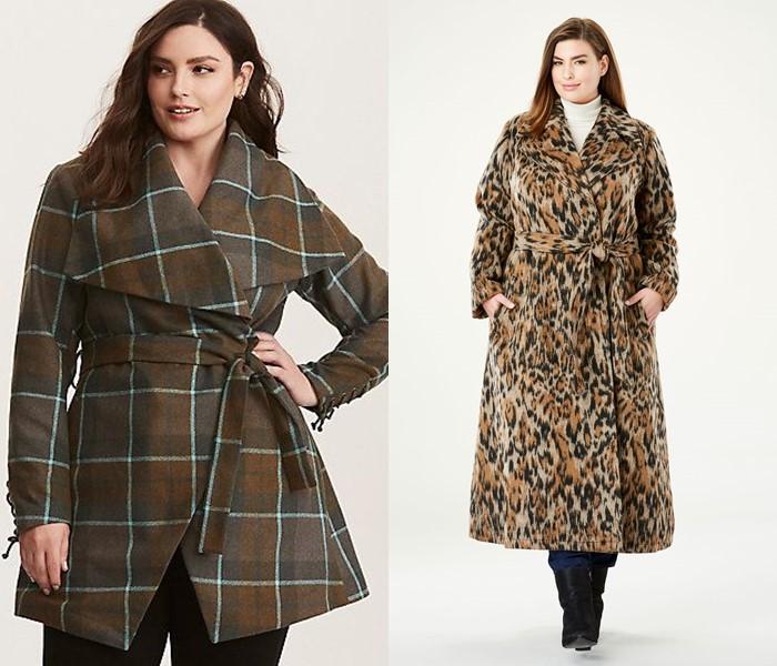 Пальто для толстушек скрывающие полноту и делающие стройнее - Пальто-халат с принтом