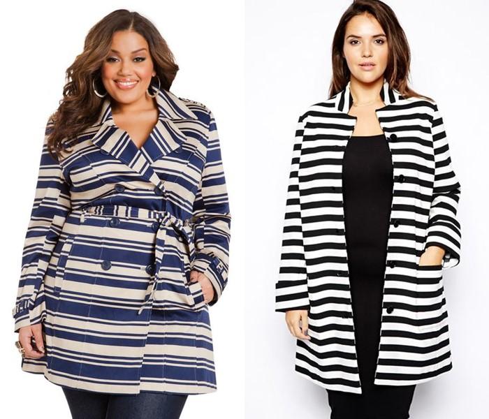 Пальто для толстушек скрывающие полноту и делающие стройнее - Пальто в чёрно-белую полоску