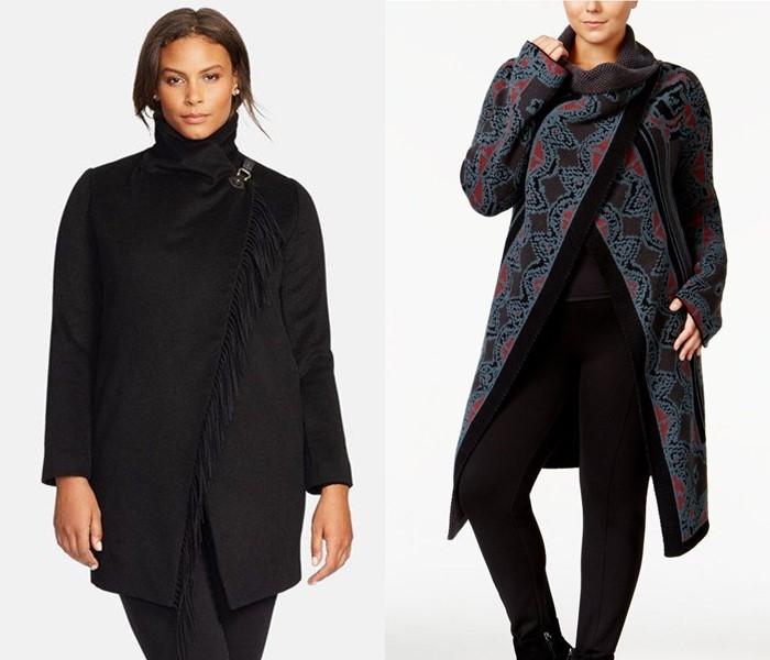 Пальто для толстушек скрывающие полноту и делающие стройнее - Пальто с запахом асимметричного кроя
