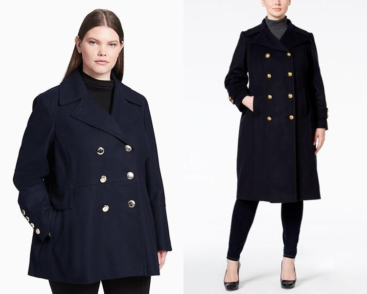 Пальто для толстушек скрывающие полноту и делающие стройнее - Тёмное двубортное пальто-бушлат