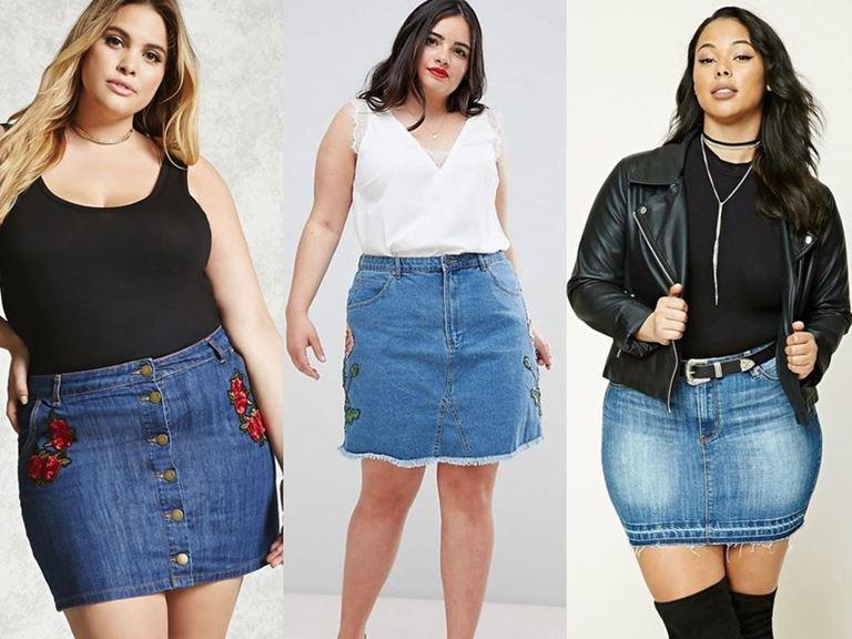 Юбки, которые полным женщинам носить нельзя - Короткие джинсовые юбки