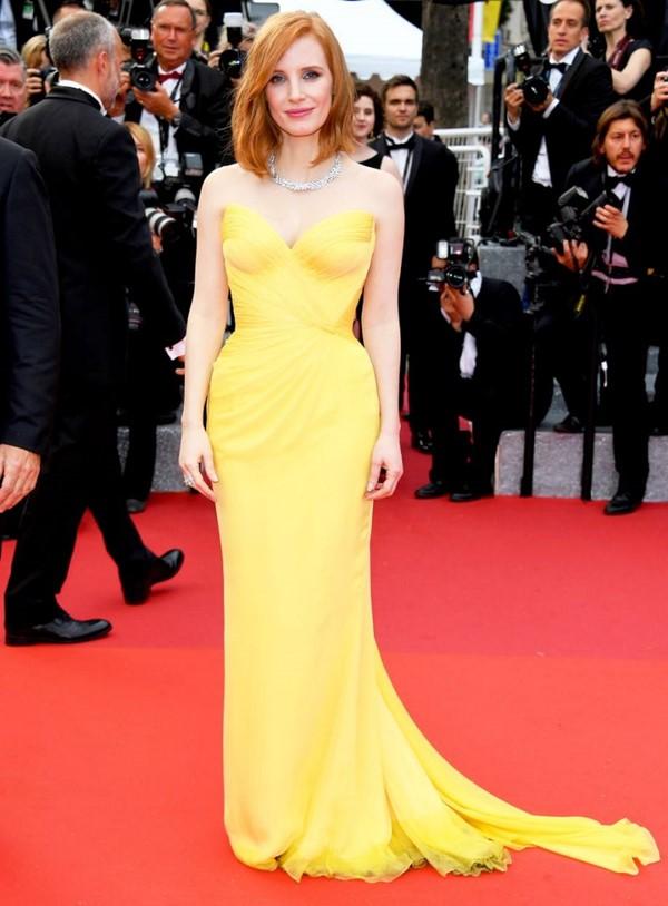 Жёлтые вечерние платья - Джессика Честейн