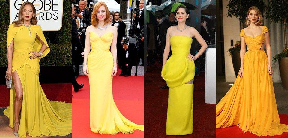 Жёлтые вечерние платья на красной дорожке. Когда звёзды ослепляют