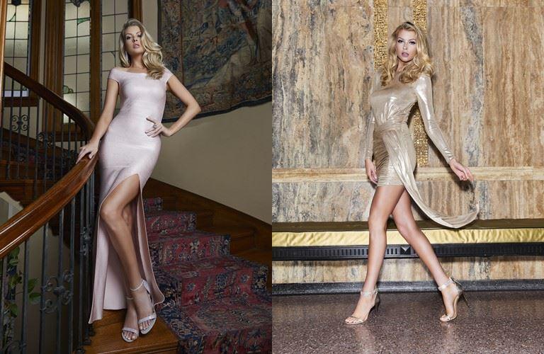 Cъёмка Holiday-коллекции Marciano Los Angeles в Marciano Art Foundation - белое и золотое блестящие платья