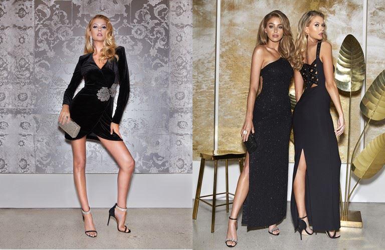 Cъёмка Holiday-коллекции Marciano Los Angeles в Marciano Art Foundation - черные платья - короткое и длинные