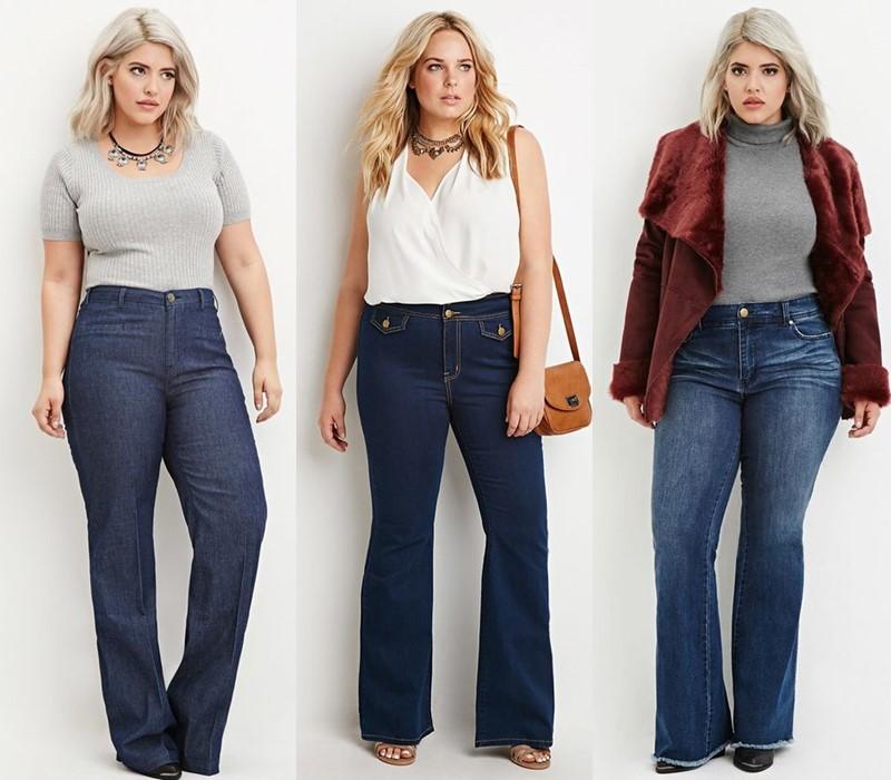 Джинсы для полных: стоит ли обтягиваться? - тёмные джинсы прямого и расклешенного кроя