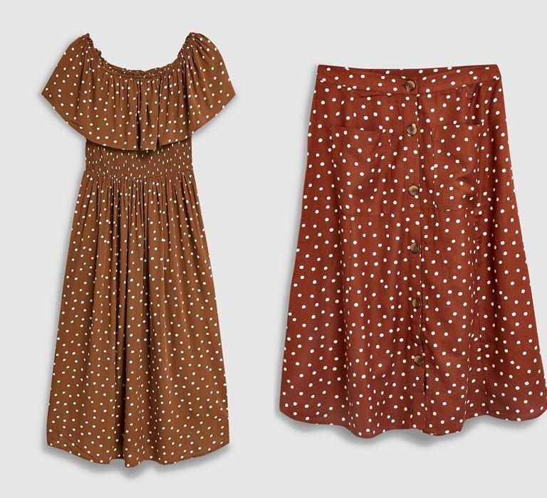 Модный принт «горох» от бренда Next - платье и юбка - фото