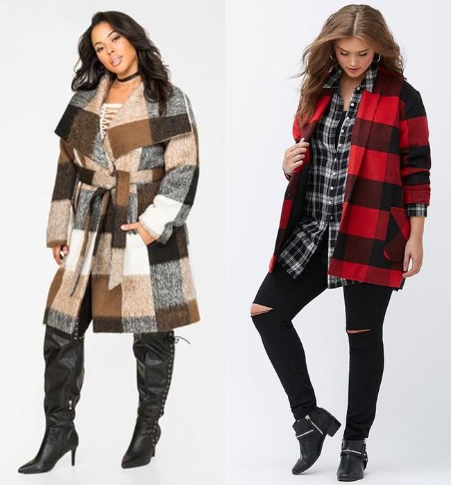 Пальто в клетку для полных - стильный плюс сайз