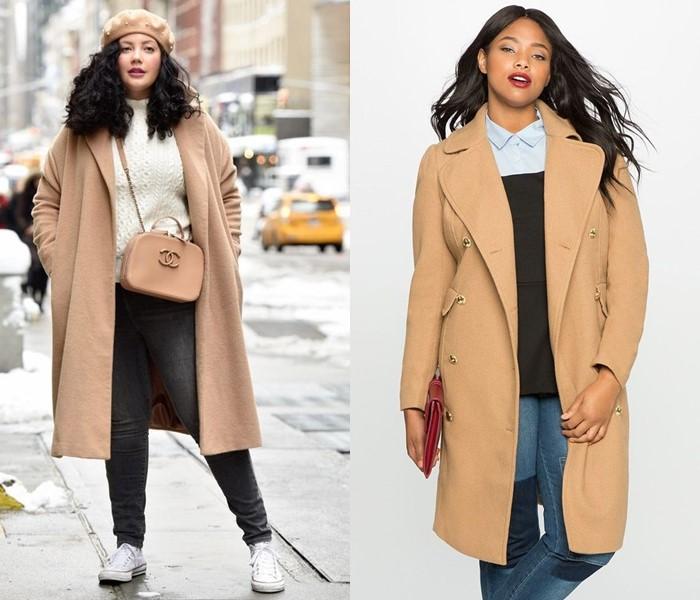 Базовое бежевое пальто оверсайз - элегантный плюс сайз