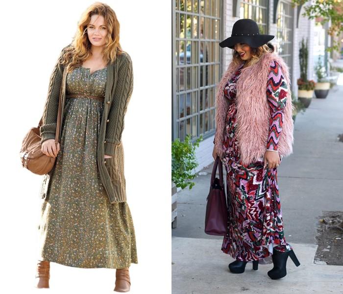 Длинное платье с жилетом или кардиганом - плюс сайз в бохо-стиле