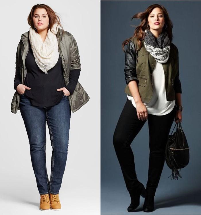 Джинсы, куртка и шарф - простой и удобный плюс сайз