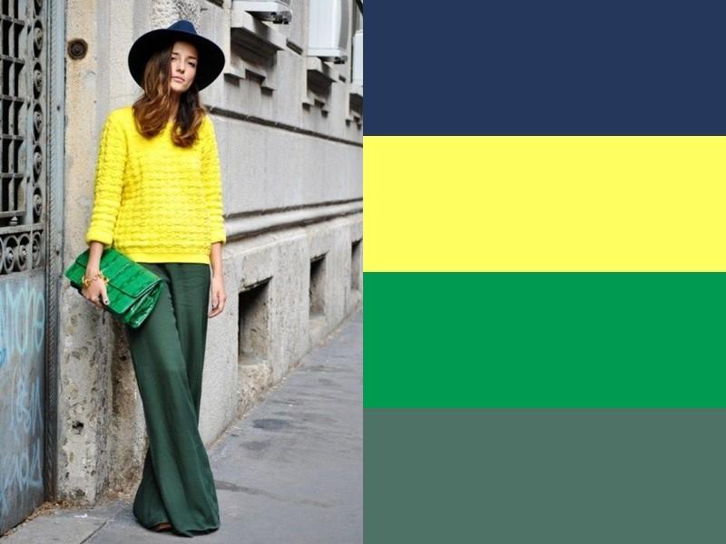 10 простых и стильных сочетаний с жёлтым в одежде - Зелёные брюки палаццо и синяя шляпа