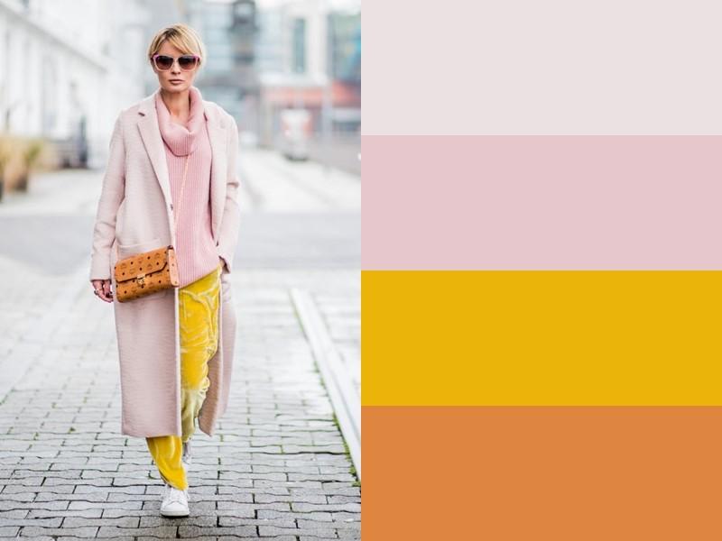 10 простых и стильных сочетаний с жёлтым в одежде - Розовое пальто и свитер