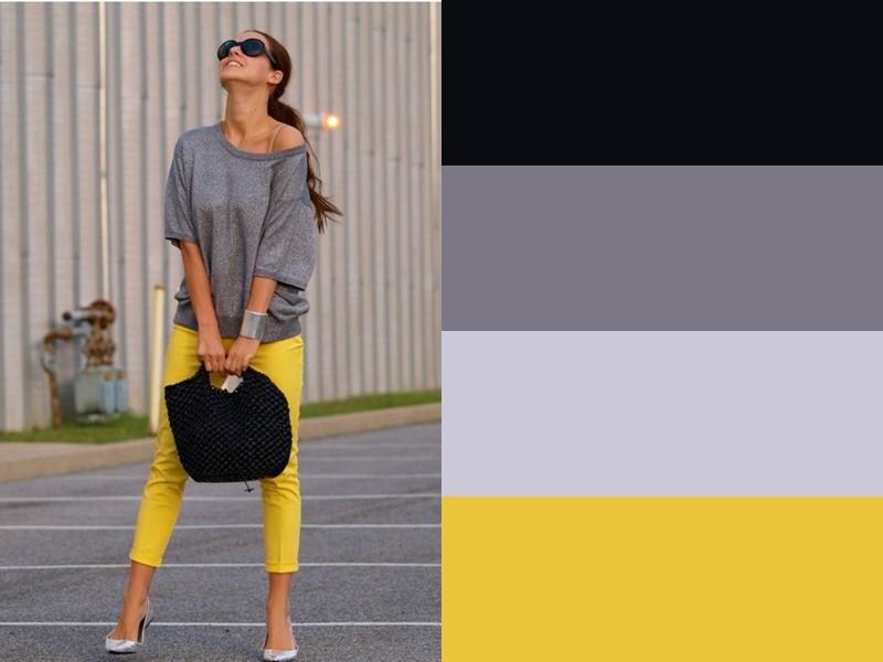 10 простых и стильных сочетаний с жёлтым в одежде - Серый свитер и чёрная сумка