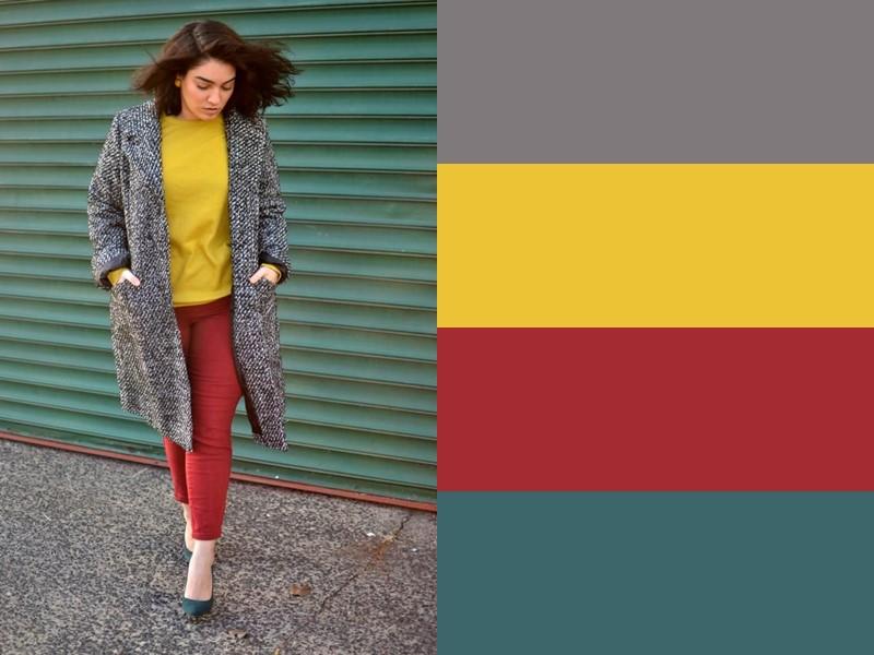 10 простых и стильных сочетаний с жёлтым в одежде - Красные брюки и серое пальто