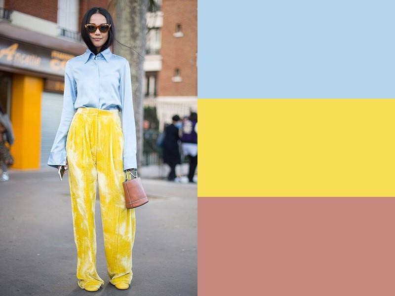 10 простых и стильных сочетаний с жёлтым в одежде - Голубая блузка и бежевая сумка