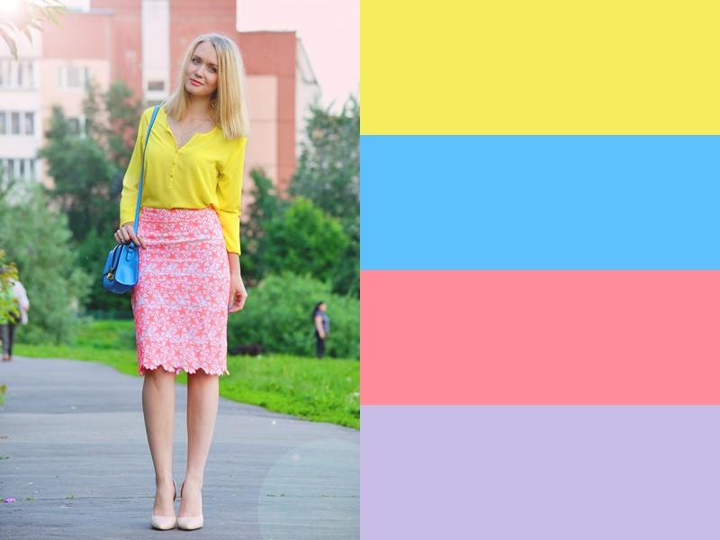 10 простых и стильных сочетаний с жёлтым в одежде - Розовая юбка и голубая сумка