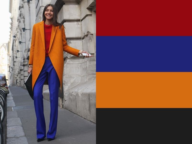 10 идей сочетания синего цвета в одежде - Оранжевое пальто и красный свитер