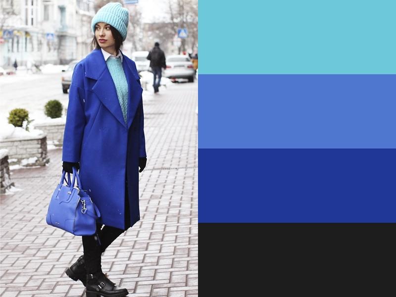 10 идей сочетания синего цвета в одежде - Бирюзовый свитер и шапка