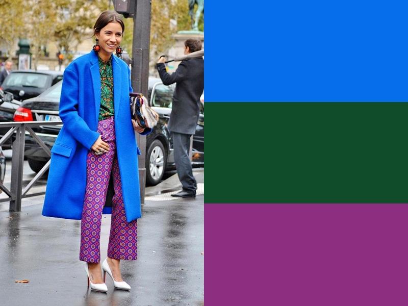 10 идей сочетания синего цвета в одежде - Зелёная блузка и сиреневые брюки