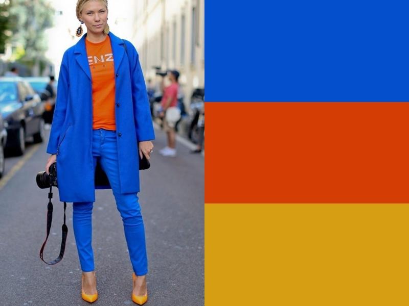 10 идей сочетания синего цвета в одежде - Оранжевый топ и горчичные туфли