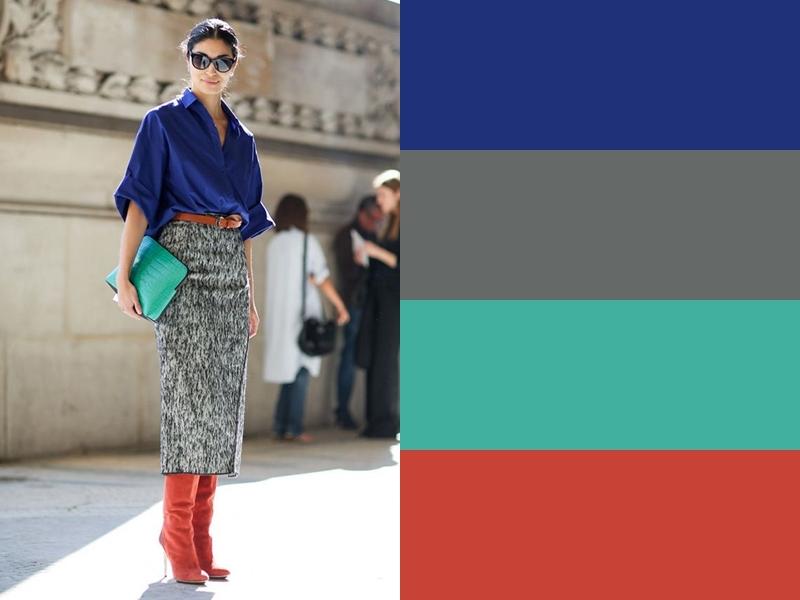 10 идей сочетания синего цвета в одежде - Серая юбка и рыжие сапоги