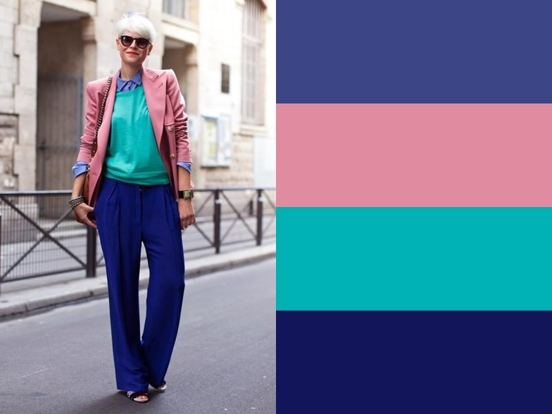 10 идей сочетания синего цвета в одежде - Бирюзовая блузка и розовый жакет
