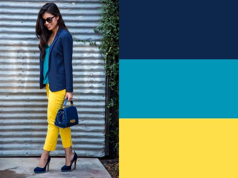 10 идей сочетания синего цвета в одежде - Бирюзовая блузка и жёлтые брюки